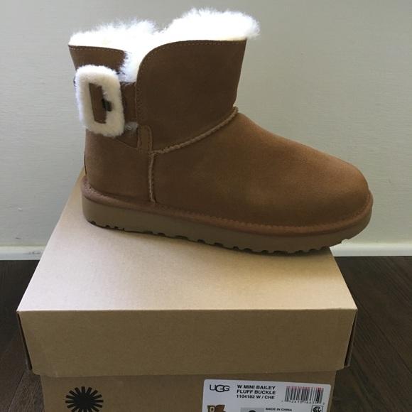 3b708746329 UGG Mini Bailey Fluff Buckle Boot NWT